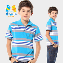 Halibidi boy lapel striped short-sleeved t-shirt children's cotton summer new polo shirt multicolor models