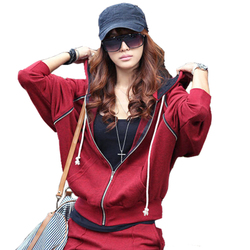 Korean style ladies casual hooded cardigan Hoodies Plus Size