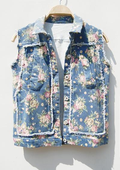 Короткая куртка Оригинальные цена 79 европейских один цветок без рукавов джинсовый жилет куртка