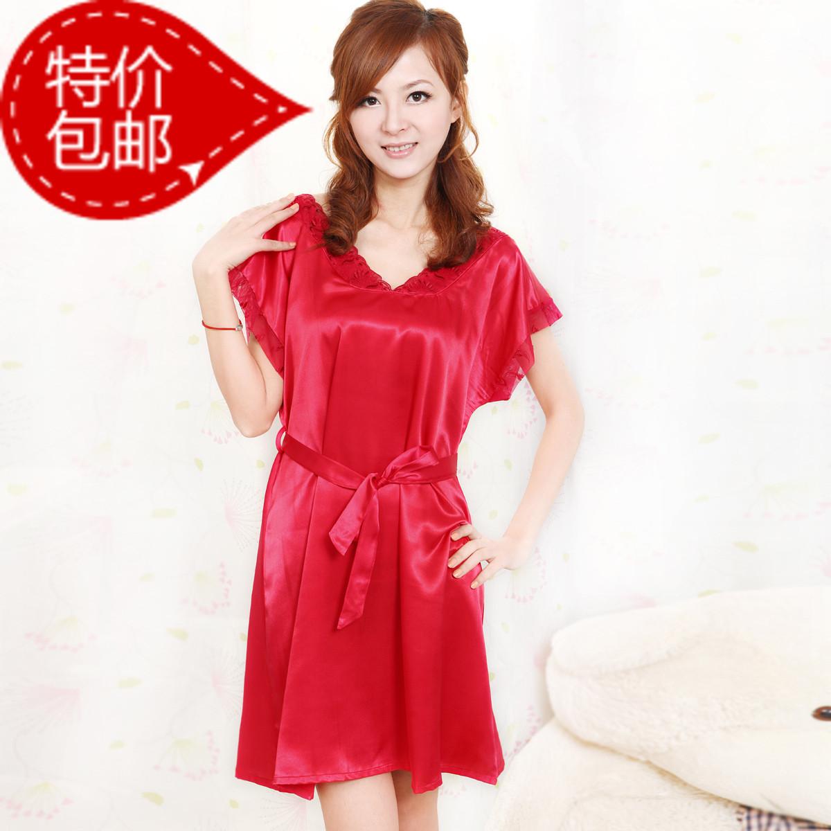 梦月琳 新款夏季 短袖可爱仿真丝性感睡裙蕾丝公主本命年红色女士