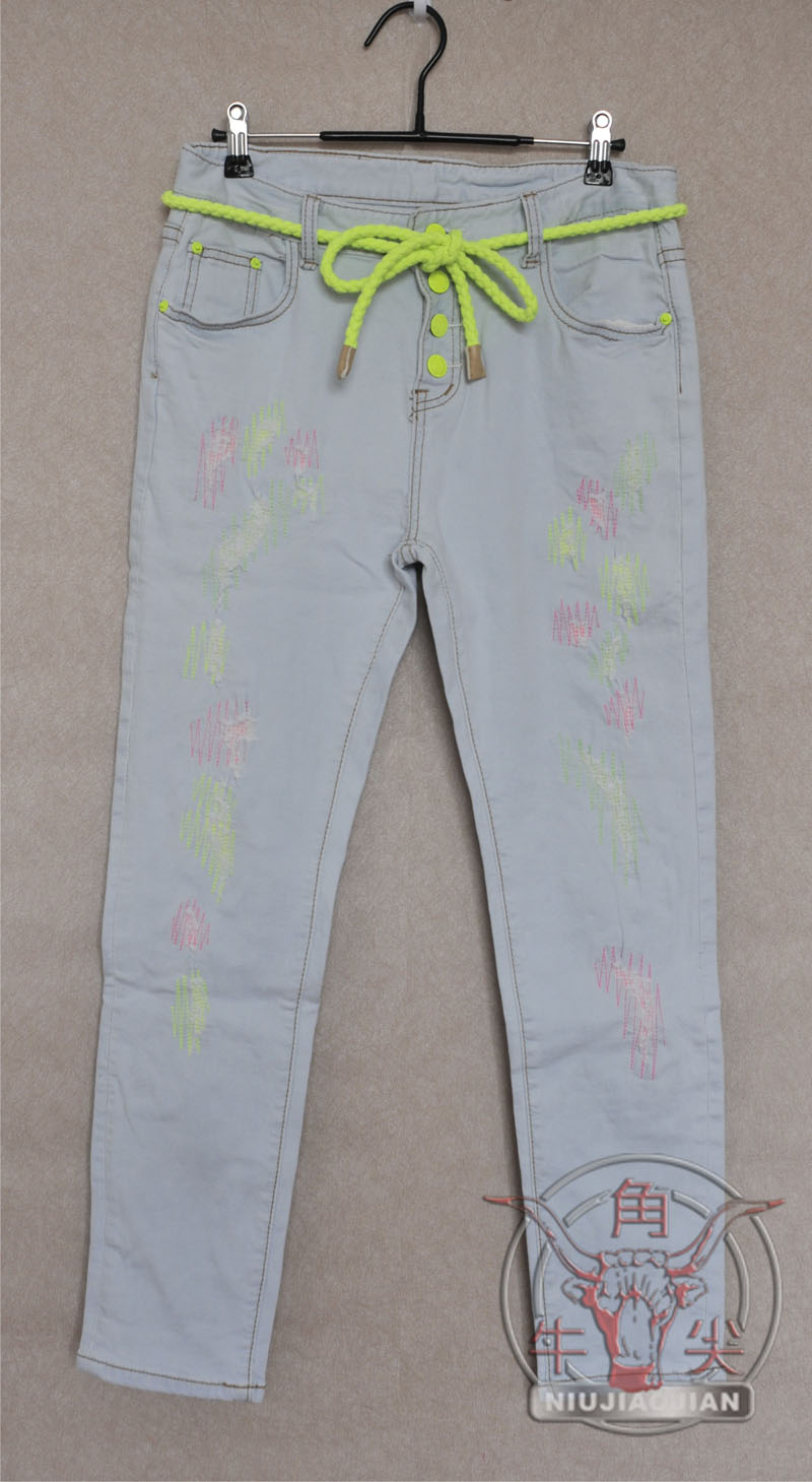 Джинсы женские Корея импортированных платья cocablue потоки вязать джинсовые брюки носить 370