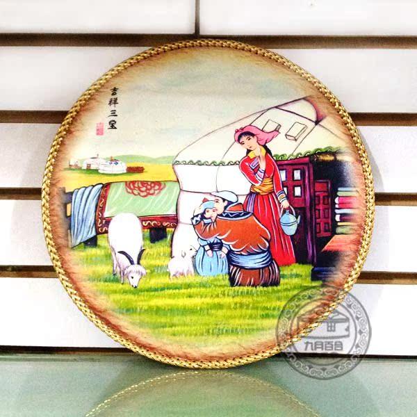 Монгольская картина из кожи Электронной почты национального декоративной живописи в Dazu Клифф повезло самбо шаблоны цифры округлены картину 31 см