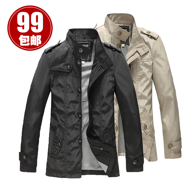 Best selling Korean slim trench coat for men in spring and autumn the atmosphere casual long thin collar coat a solid color men's
