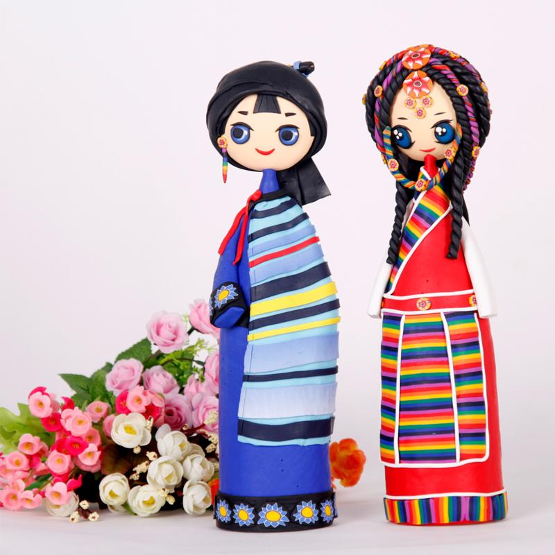 婚庆创意礼品个性时尚家居摆件手工泥塑装饰品工艺品姐妹娃娃包邮