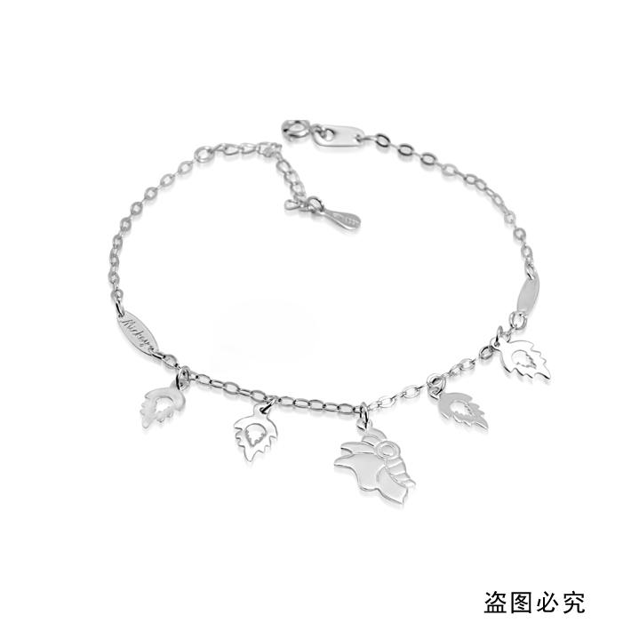 纯翠珠宝 s925银 镀金 树叶 蝴蝶飞舞 素银脚链 自然昆虫系列