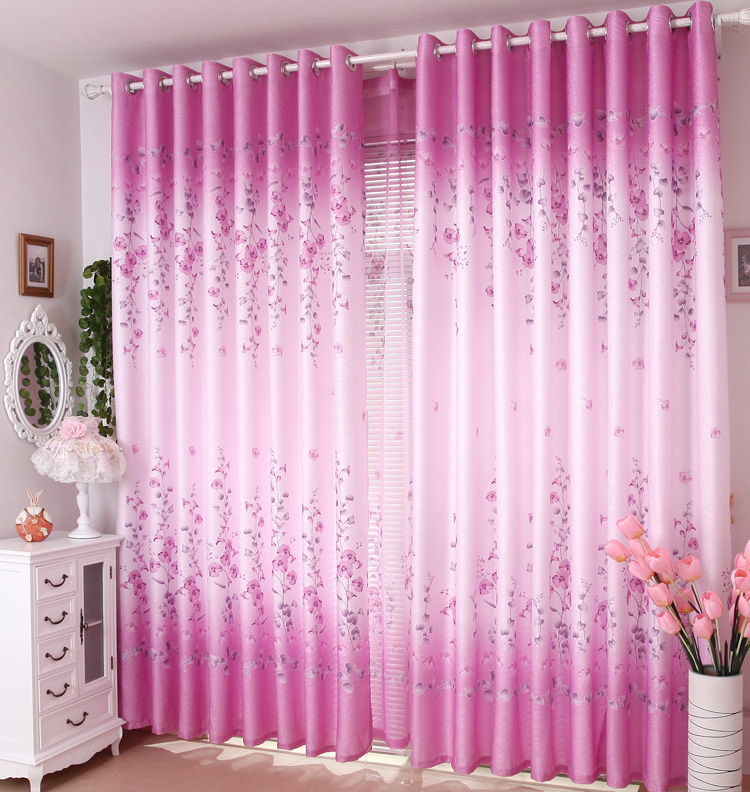 Special 72 yuan, 1 sets of 4*2.7 [spring] look half shading curtain fabric pastoral finished bedroom.