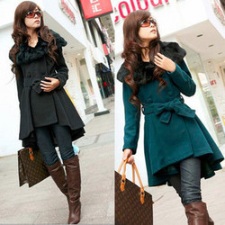 Korean style woolen coat fur collar temperament Slim