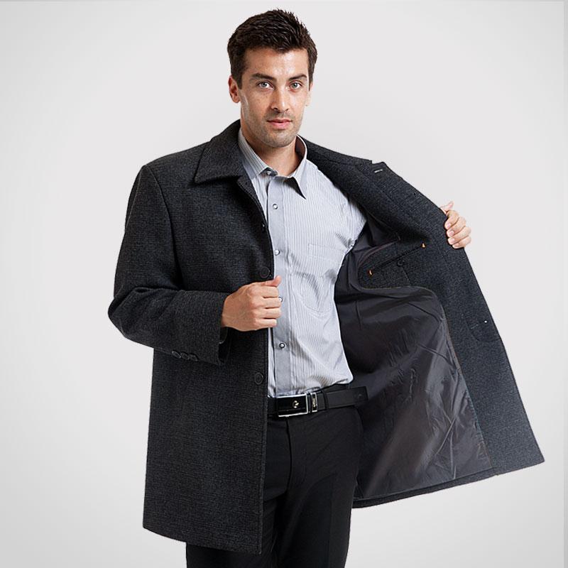 秋冬款老人頭男士風衣中老年中長款羊毛呢子風衣外套商務休閑男裝圖片