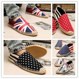 New breathable men's Korean version of straw in summer fashion shoes NET shoes of England peas for lazy men shoes