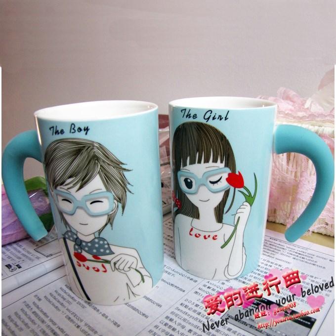 情侣对杯创意杯子学生水杯陶瓷杯马克杯小清新情侣杯保温杯礼物