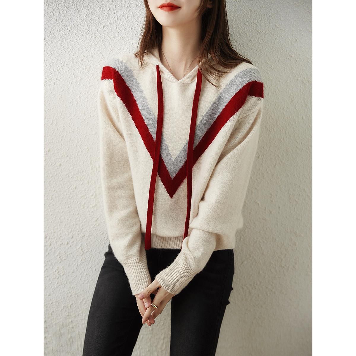 [ZY258435AG]笑涵阁穿不腻的肉感纯羊绒V型几何连帽针织衫卫衣