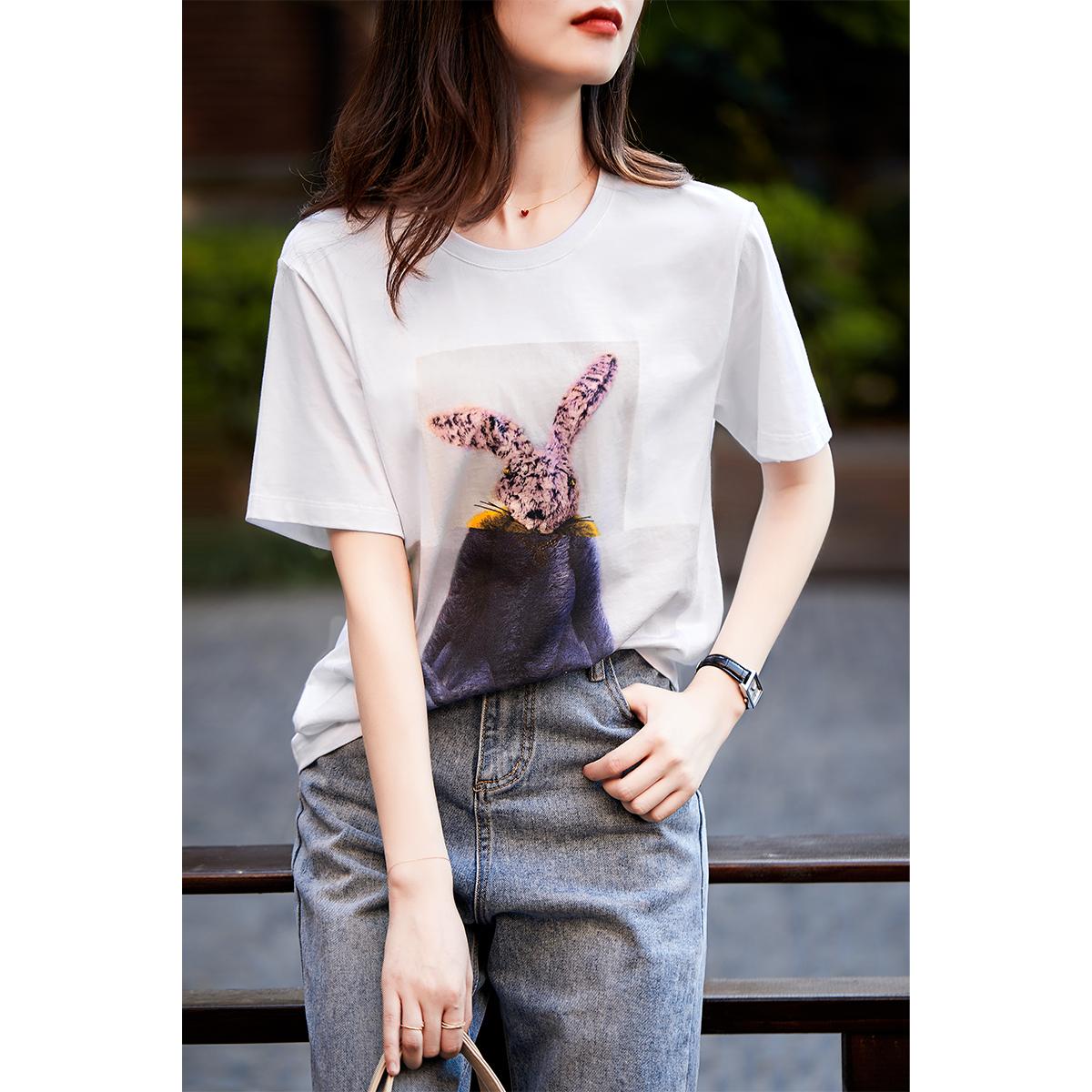 [TX292079MG] 笑涵阁  趣味萌兔印花图案 宽松纯棉圆领短袖T恤