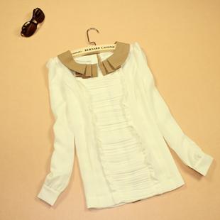 женская рубашка Листьев лотоса воротник шифоновые рубашки с длинным рукавом женщин рубашки 13 осень Новый корейский сладкий темперамент принцесса рубашки тонкий