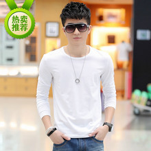 Men long sleeve T-shirt long autumn pure white cotton clothes garden took render unlined upper garment to pure color T-shirt men's wear autumn clothes