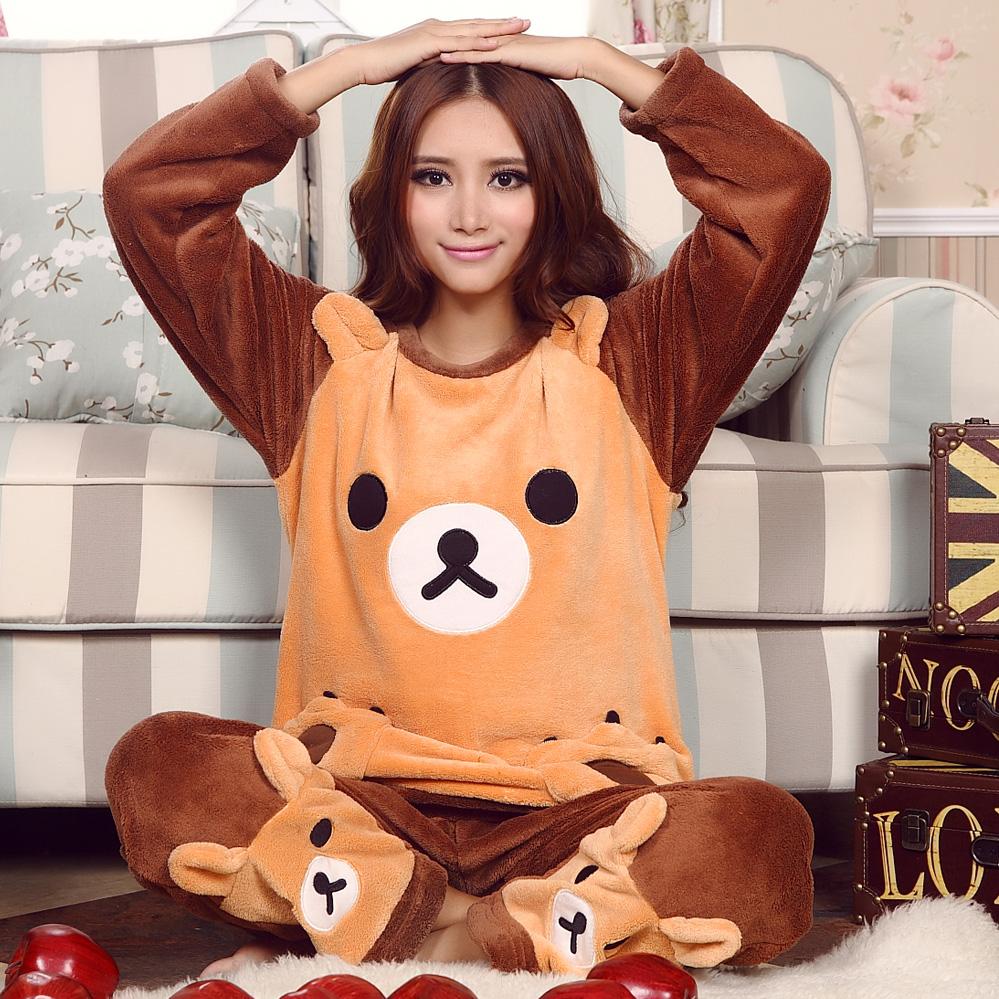 秋冬季珊瑚绒睡衣女加厚甜美可爱轻松熊法兰绒睡衣家居服套装