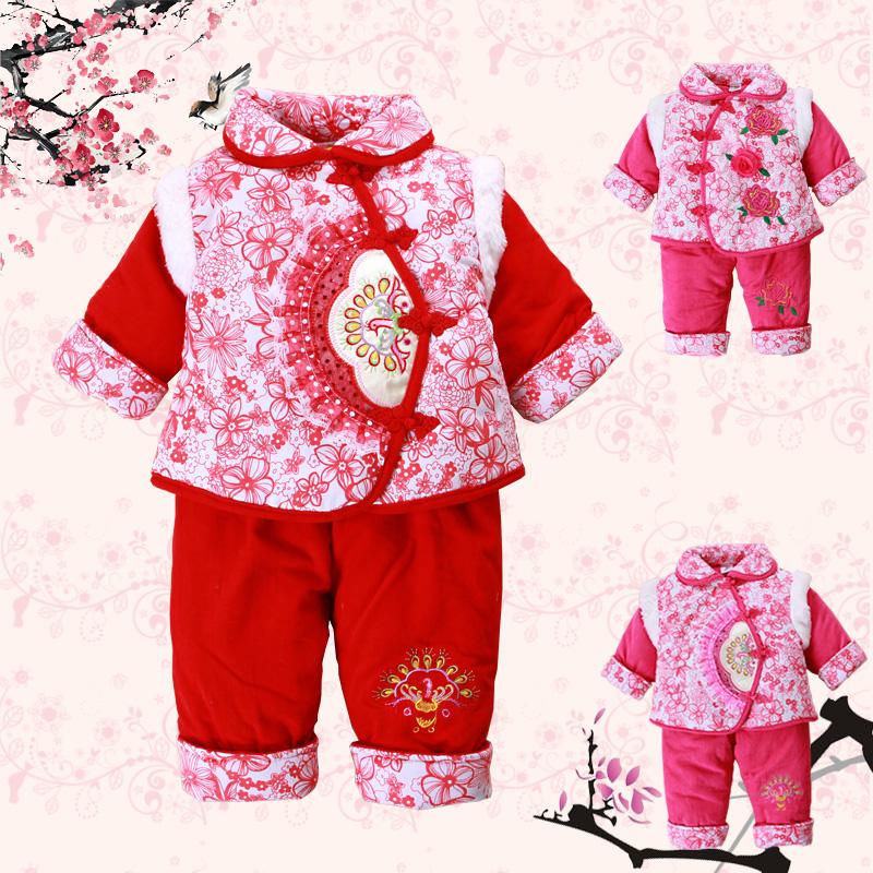 宝宝新年衣服_莱利贝比新款童装宝宝新年衣服喜庆婴儿连体衣
