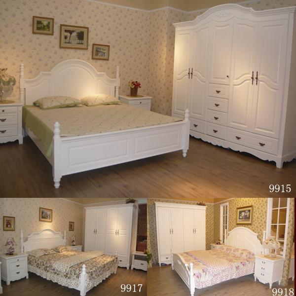 Двуспальная кровать Европейская мебель набор сочетание клумбы твердый шкаф древесины спальни мебель набор мебели