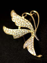 South Korea imported full diamond white butterfly fashion brooch