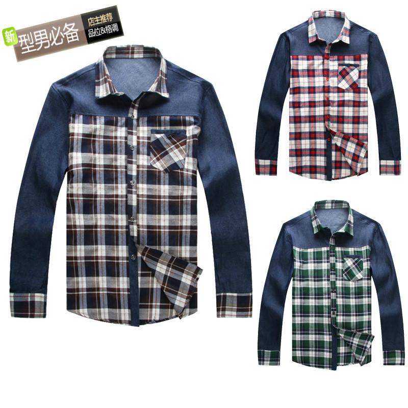 Рубашка мужская PARGO 1258 Ткань в клетку Воротник с пуговицами Длинные рукава ( рукава > 57см )