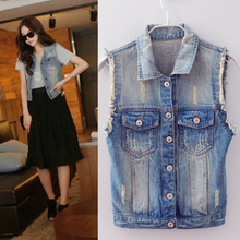 Sleeveless code denim vest vest female models spring and summer Korean version of the influx of European and American waistcoat pony folder Jacket Top