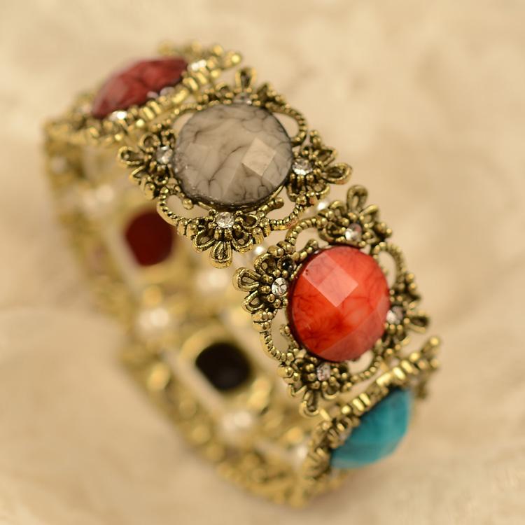 E292 彩宝石手镯复古彩色宝石镶钻手链 手镯韩国可爱女批发