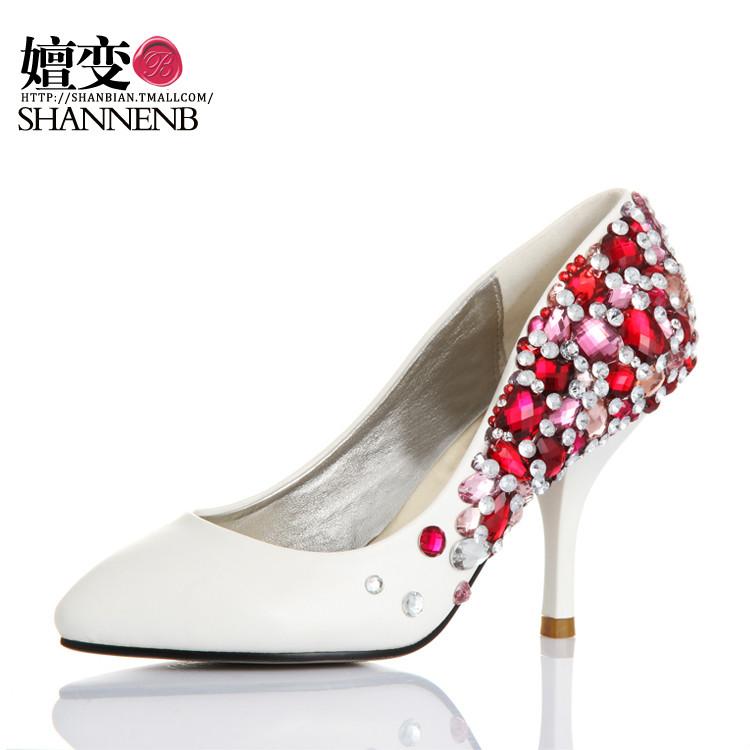 年中大促嬗变婚鞋红蓝夜宝石全手工设计鞋晚宴水晶鞋优雅手工设计