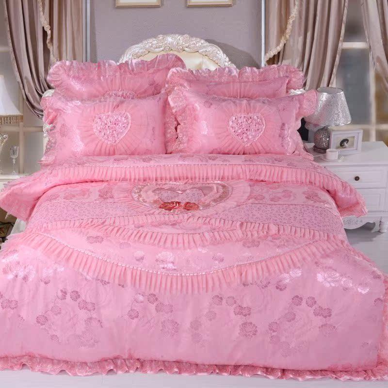 艾润家纺蕾丝婚庆四件套大红 粉色婚庆床盖床品四件套  精品