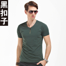 Black buttons 2013 summer men short-sleeved T-shirt men Korean Slim V-neck solid color short-sleeve T-shirt men Tide