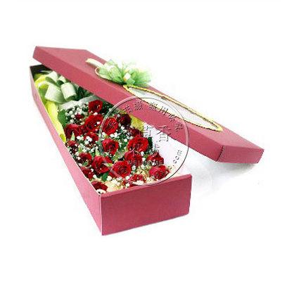 玫瑰花长方形礼盒装玫瑰花盒爱情生日祝福惊喜礼物全国速递包邮