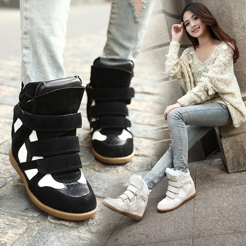极品欧美魔术贴全真皮运动鞋明星同款隐形内增高高帮鞋休闲女鞋子
