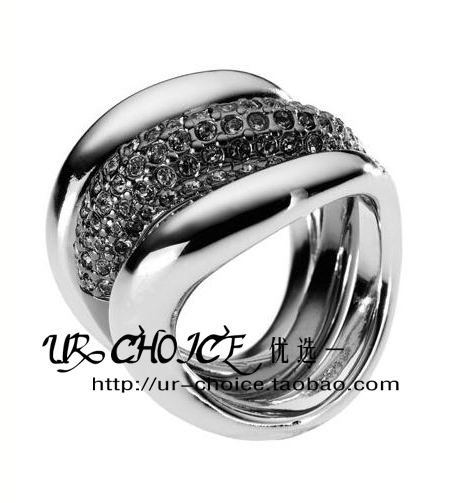 UR CHOICE-Michael Kors Pave Stack Ring,Hematite Color戒指