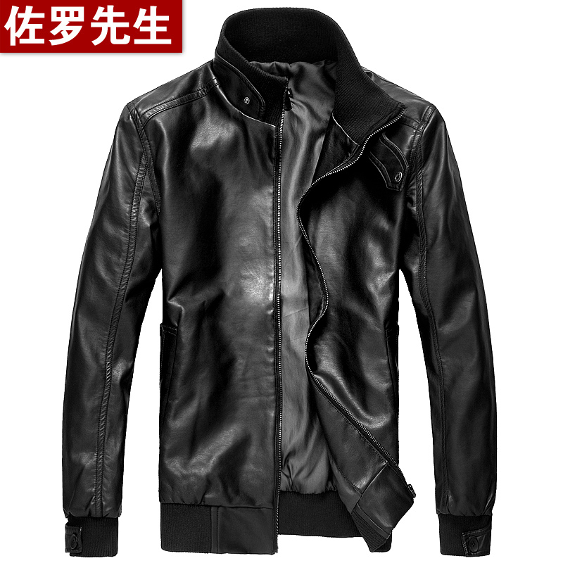 Men Pu leather jacket men's 2013 spring new Zorro male Korean spring men's slim leather jacket