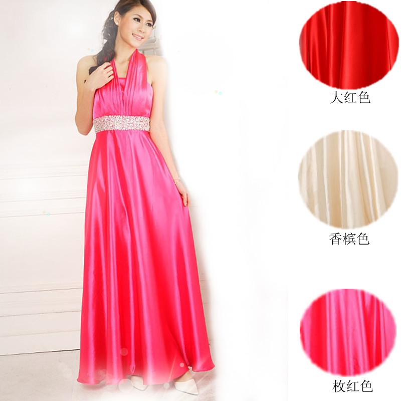 2013最新款韩版结婚季高腰玫红香槟色晚装敬酒服新娘结婚长款婚纱礼服