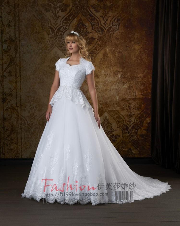 婚纱礼服 新款2013 结婚季复古蕾丝短袖包肩新娘拖尾婚纱 韩版个性礼服