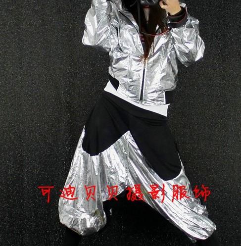 新款爵士舞套装 街舞连帽外套演出服HIPHOP嘻哈闪亮团体金属服饰