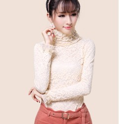 Thick high collar lace shirt lace collar long sleeve piles Heavy size