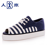 The new spring and summer people genuine striped fish head shoes, canvas shoes Korean version of the influx of <span class=H> fashion </span> <span class=H> cool breathable shoes </span>