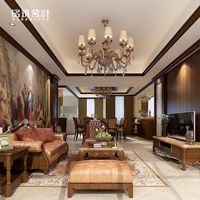 现代中式装修设计 客厅家装设计效果图 花鸟墙纸沙发墙 室内装饰