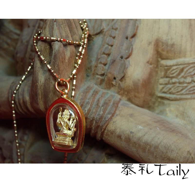 Тайский сувенир Taily тайский тайский буддийской церемонии реагировать маг медальон, окруженный позолоченные Будды в окружении 14k