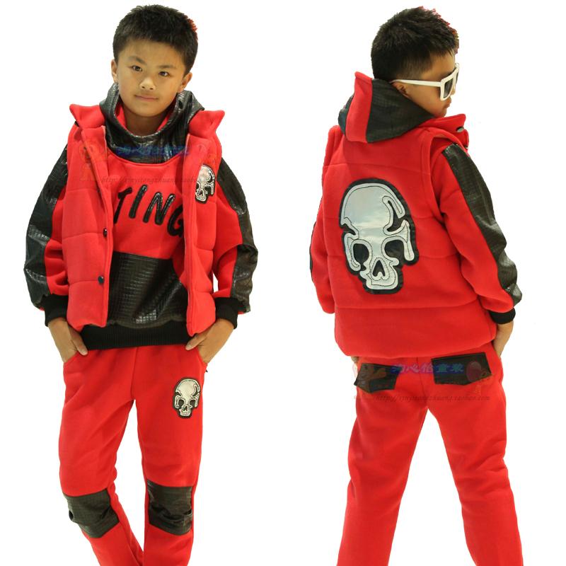 детский костюм Новый мальчик набор для осень/зима 2013 кампании на детей корейской версии мальчиков и мягкий бархат три набора детей свитер