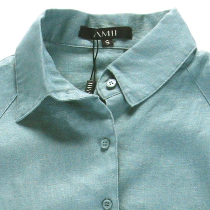 женская рубашка b5nc4060530 AMII Городской стиль Длинный рукав Однотонный цвет