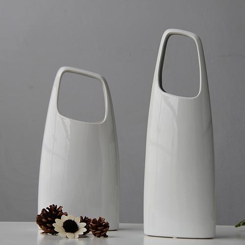 现代简约 美式乡村 北欧极简 白色水桶把手花瓶 宜家个性陶瓷摆件