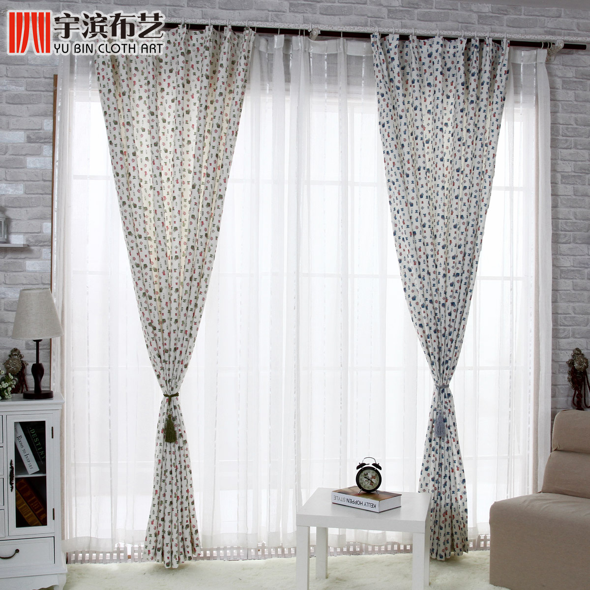 Think Hanyu bin cloth finished half shade shade curtains the living room bedroom high-grade special package mail