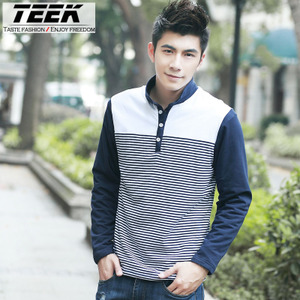 2013 new winter men's POLO shirt plus thick velvet lapel long-sleeved t-shirt TEEK influx of young men