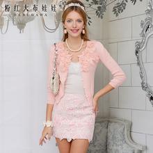 针织衫女粉红大布娃娃外套新上衣春粉红镶花朵显瘦修身潮开衫图片