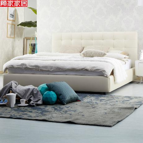 顧家家居 時尚經典1.8米雙人真皮床 實木軟床 皮床 B-160商品大圖