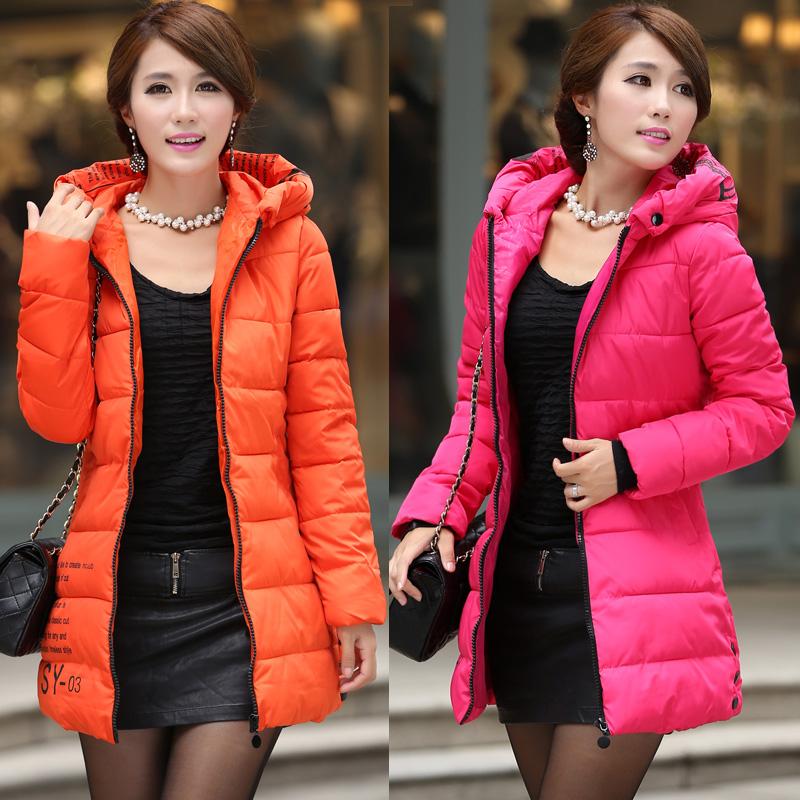 Женский пуховик 2013 Зимняя Корейский дамы с капюшоном длинный вниз пальто зимние куртки дополняются размер собственной почты
