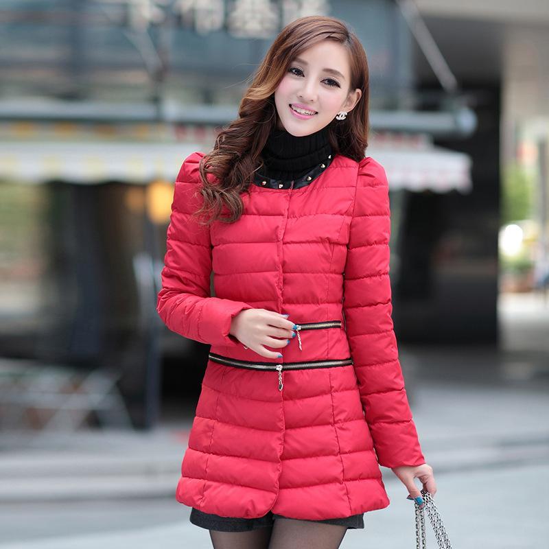 Женская утепленная куртка 2013冬女装新款韩版修身潮羽绒棉服小棉袄中长款棉衣两穿外套