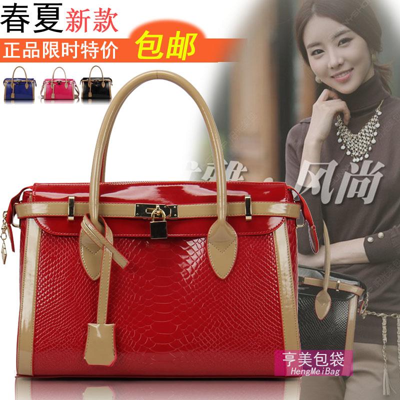 女包包韩版新款2013潮女士手提包单肩包时尚漆皮亮面红色新娘锁包
