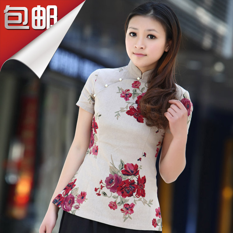 2013 promotions new Republic of improved Chinese cotton dress shirt, clothing fashion short sleeve summer Lady